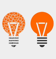 Dotted and flat electric bulb icon vector