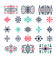 ethnic geometrical symbols tribal mexican aztec vector image