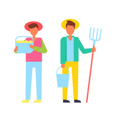 Farmers people with tools vector