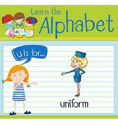 Flashcard letter u is for uniform vector
