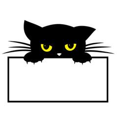Frame with black kitten vector