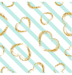 Gold heart seamless pattern white-blue geometric vector