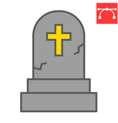 Gravestone color line icon halloween and scary vector