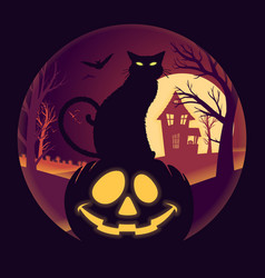 Halloween full moon with jack o lantern and black vector