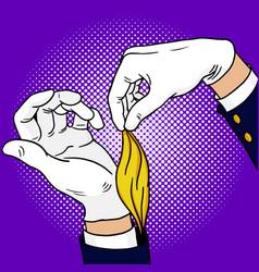 Hands of magician pop art vector