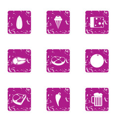 Harvesting foodstuff icons set grunge style vector