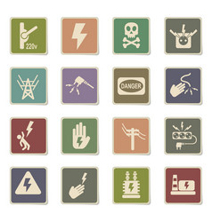 high voltage icon set vector image