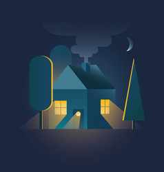 Home house in night time with warm light falling vector