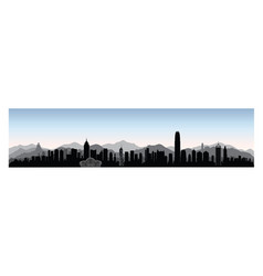 hong-kong city skyline with tourist attraction vector image