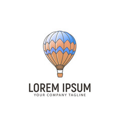 Hot air balloon logo design concept template vector