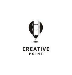 hot air balloon pencil gps film strip movie logo vector image