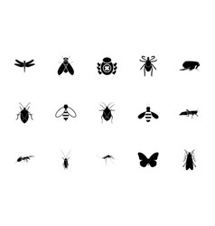 Insects black color set solid style image vector