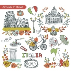 Italy Rome landmark setAutumn leaves wteath group vector