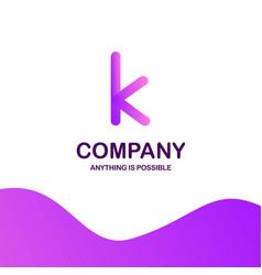 k company logo design with purple theme vector image