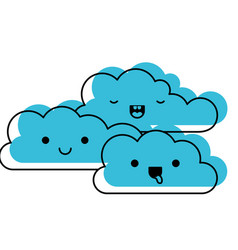 kawaii cumulus clouds icon flat in watercolor vector image