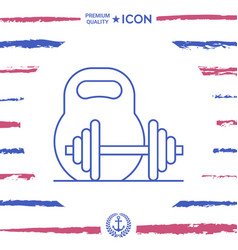 kettlebell and barbell line icon vector image
