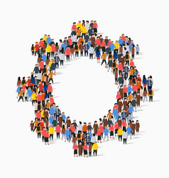 large group people in form gear vector image