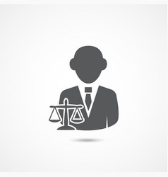 lawyer icon on white vector image