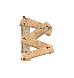 letter b wood board font plank and nails alphabet vector image
