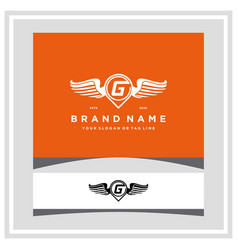 Letter g pin map wing logo design concept vector