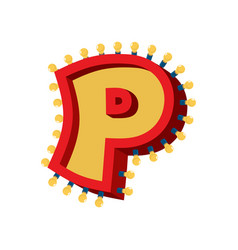 Letter p lamp glowing font vintage light bulb vector