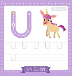 Letter u uppercase tracing practice worksheet of vector