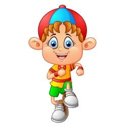 little boy walk cartoon vector image