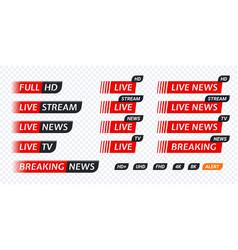 Live stream tv news tag icon video symbol vector