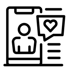 Love chat icon outline style vector