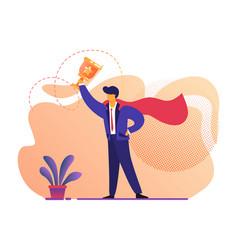 Man in superhero red cloak holding gold goblet vector