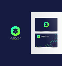 Mecca button logomark with business card template vector