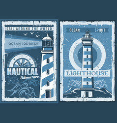 Nautical marine lighthouse retro posters vector
