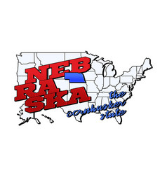 nebraska state with us state on american vector image