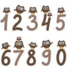 Numbers from zero to nine and owls vector