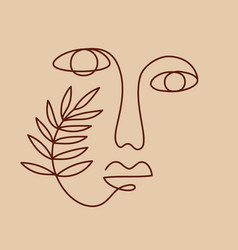 one line drawing women face vector image