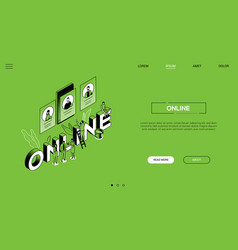 online communication landing page template vector image