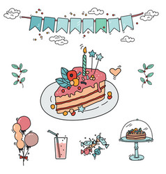 party cake doodle vector image