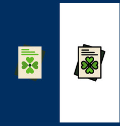 Passport world ireland icons flat and line filled vector
