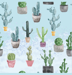 Pattern of cactus and succulents on light blue vector