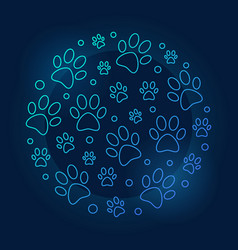 Pets footprints round blue outline vector