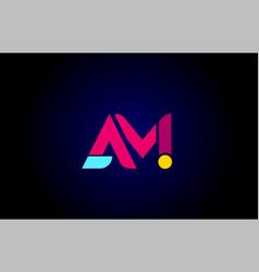Pink blue alphabet letter am a m combination vector