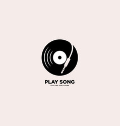 Play song logo template icon element vector