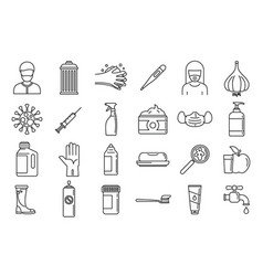 Prevention disease icons set outline style vector