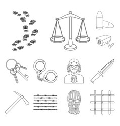 Prison and the criminal outline icons in set vector