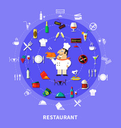 Restaurant symbols round composition vector