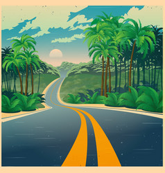 road through the jungle in retro poster style vector image