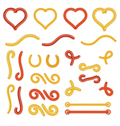 Rope knots collection set random shapes vector image