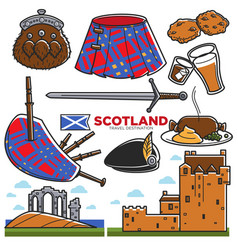 Scotland uk travel tourism landmarks and famous vector