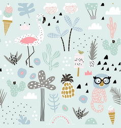 seamless pattern with flamingo leopard monkey and vector image