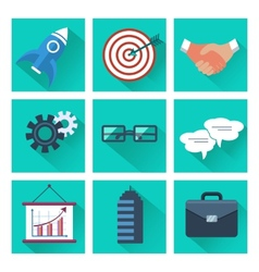 Set of 9 business and marketing square icons vector